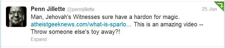 Penn Jillette's tweet about Sparlock