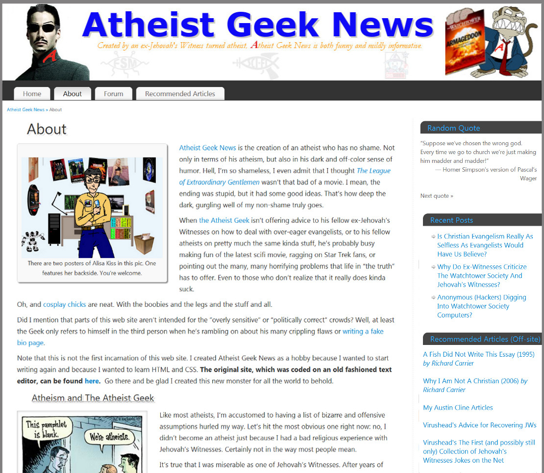 dare ye link to atheist geek news atheist geek news here s
