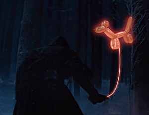 Kylo Ren not holding up his infamous lightsaber